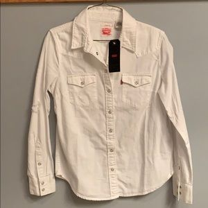 Women's Levi white button down with distressing